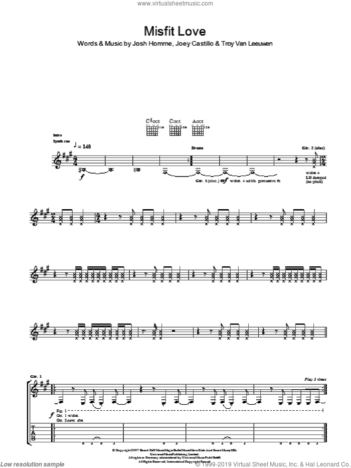 Misfit Love sheet music for guitar (tablature) by Joey Castillo, Queens Of The Stone Age, Josh Homme and Troy Van Leeuwen. Score Image Preview.