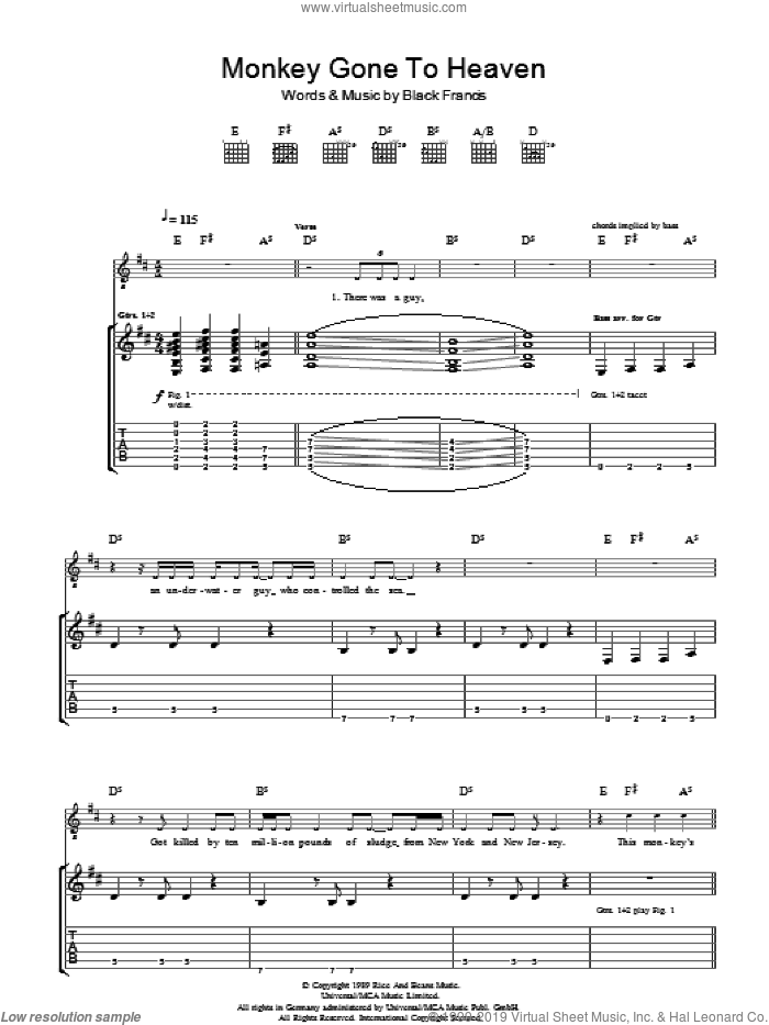Monkey Gone To Heaven sheet music for guitar (tablature) by Pixies, intermediate. Score Image Preview.