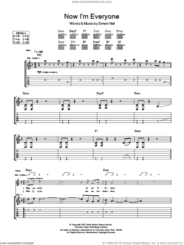 Now I'm Everyone sheet music for guitar (tablature) by Simon Neil