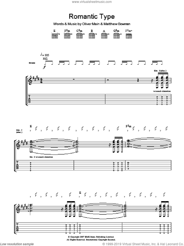 Romantic Type sheet music for guitar (tablature) by The Pigeon Detectives, intermediate. Score Image Preview.