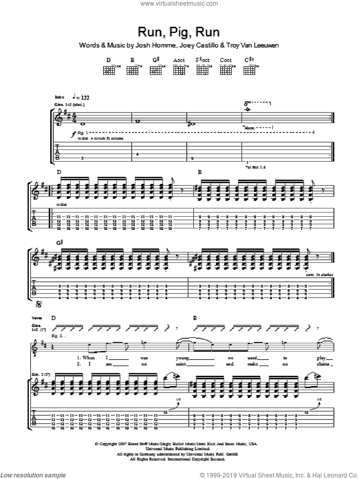 Run Pig Run sheet music for guitar (tablature) by Queens Of The Stone Age, Joey Castillo, Josh Homme and Troy Van Leeuwen, intermediate skill level