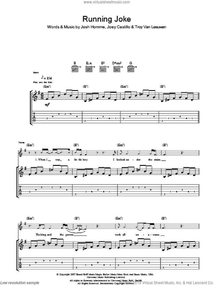 Running Joke sheet music for guitar (tablature) by Queens Of The Stone Age, Joey Castillo, Josh Homme and Troy Van Leeuwen, intermediate. Score Image Preview.