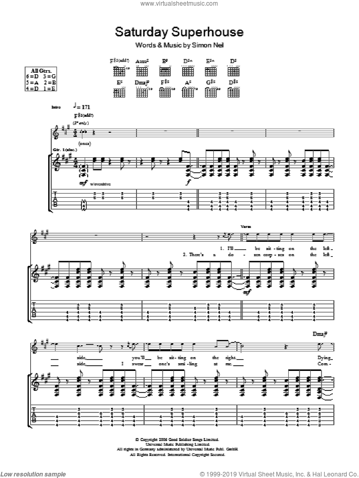 Saturday Superhouse sheet music for guitar (tablature) by Biffy Clyro and Simon Neil, intermediate skill level