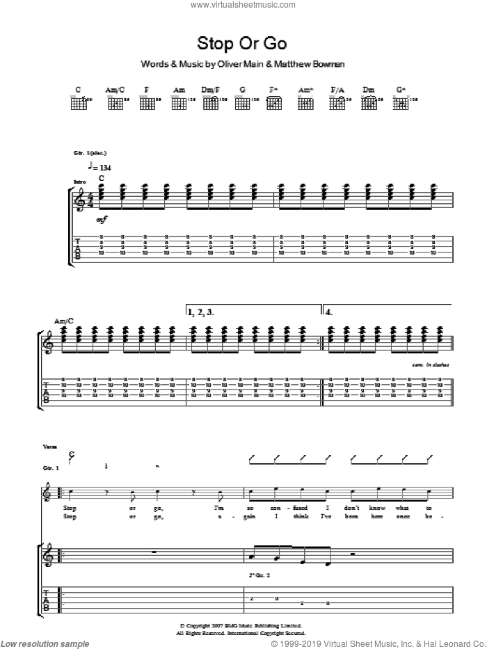 Stop Or Go sheet music for guitar (tablature) by The Pigeon Detectives. Score Image Preview.
