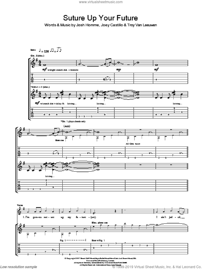 Suture Up Your Future sheet music for guitar (tablature) by Queens Of The Stone Age, Joey Castillo, Josh Homme and Troy Van Leeuwen, intermediate. Score Image Preview.
