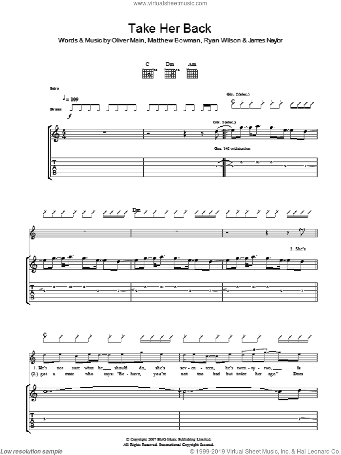 Take Her Back sheet music for guitar (tablature) by James Naylor, Matthew Bowman and Oliver Main. Score Image Preview.