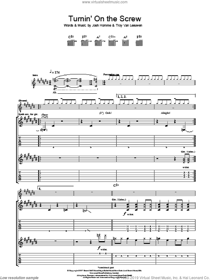 Turnin' On The Screw sheet music for guitar (tablature) by Josh Homme, Queens Of The Stone Age and Troy Van Leeuwen. Score Image Preview.