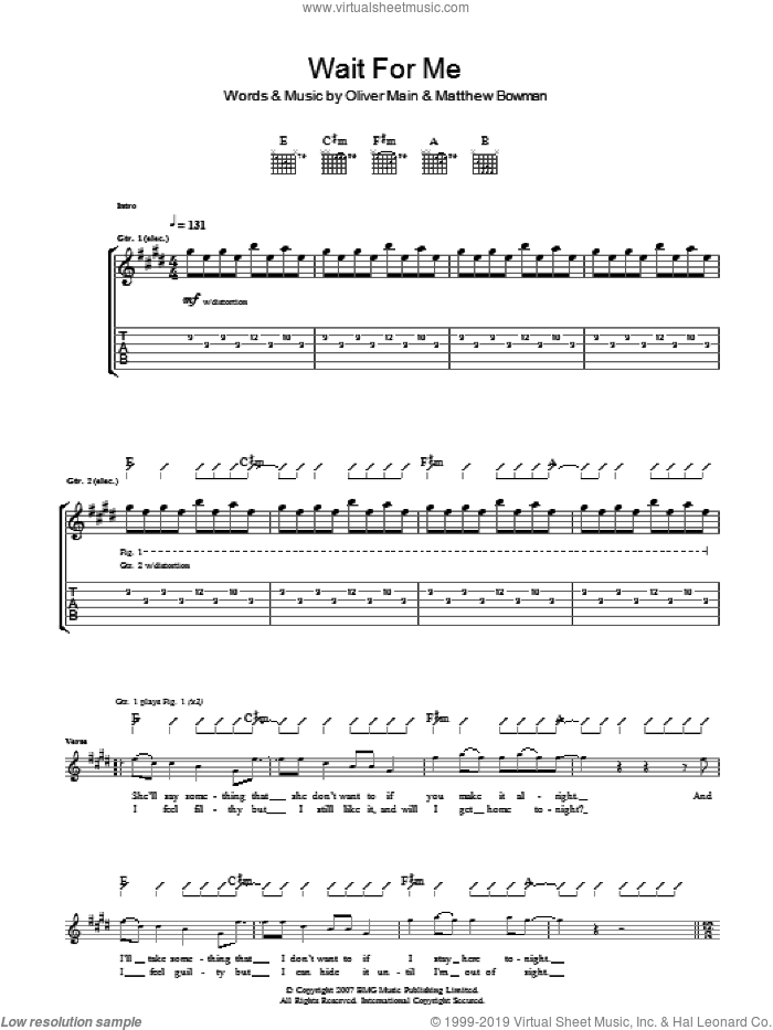 Wait For Me sheet music for guitar (tablature) by The Pigeon Detectives. Score Image Preview.