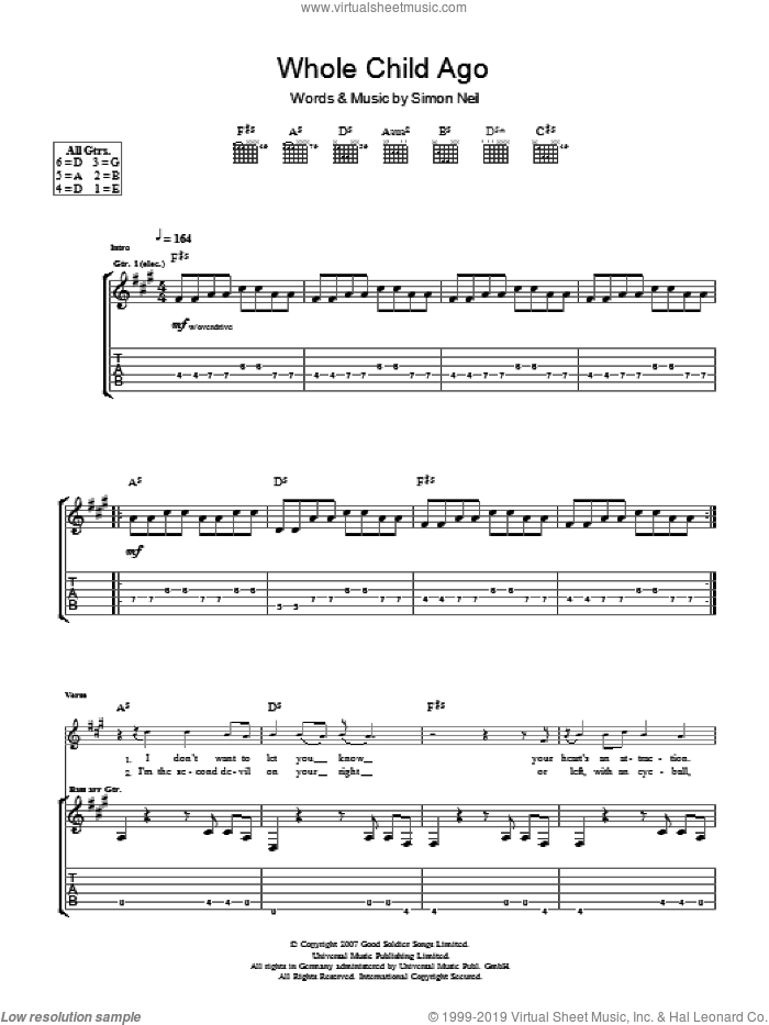A Whole Child Ago sheet music for guitar (tablature) by Biffy Clyro and Simon Neil, intermediate skill level