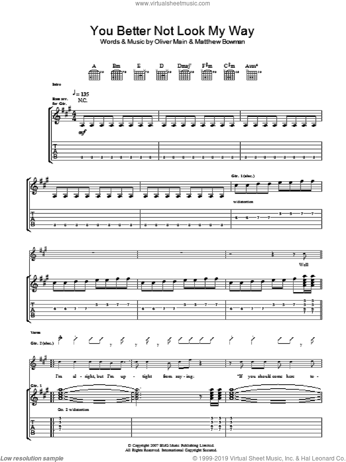 You Better Not Look My Way sheet music for guitar (tablature) by Matthew Bowman and Oliver Main. Score Image Preview.
