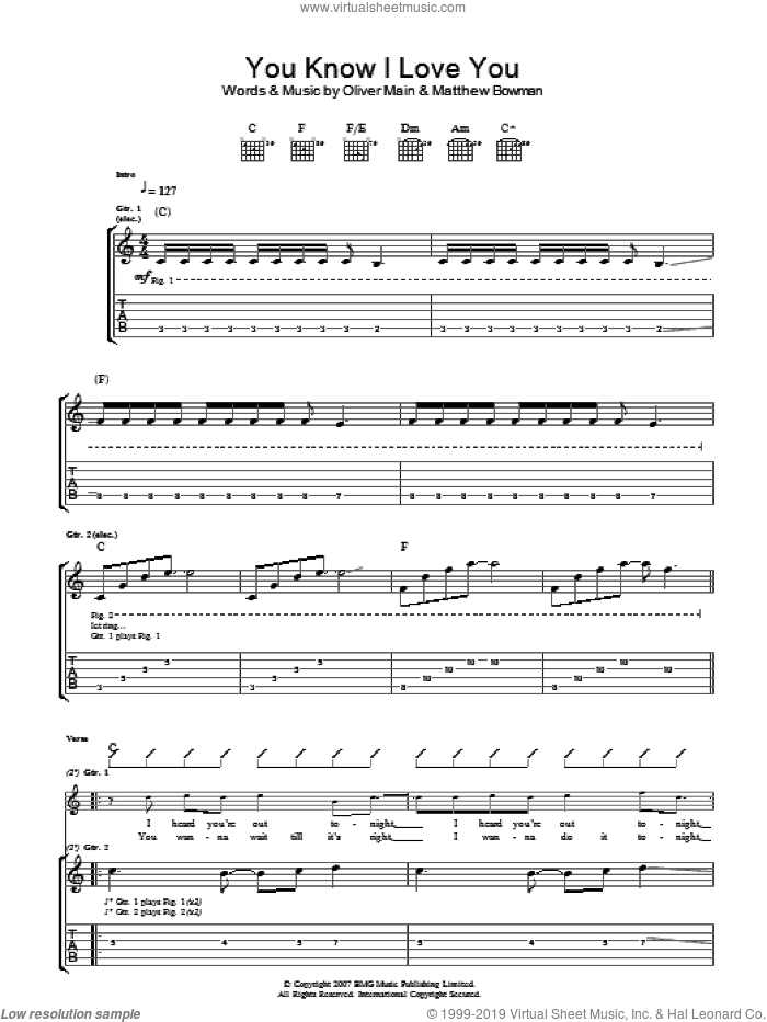 You Know I Love You sheet music for guitar (tablature) by The Pigeon Detectives, Matthew Bowman and Oliver Main, intermediate skill level