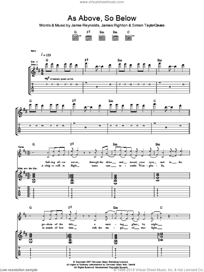 As Above So Below sheet music for guitar (tablature) by Klaxons, James Righton, Jamie Reynolds and Simon Taylor-Davies, intermediate skill level