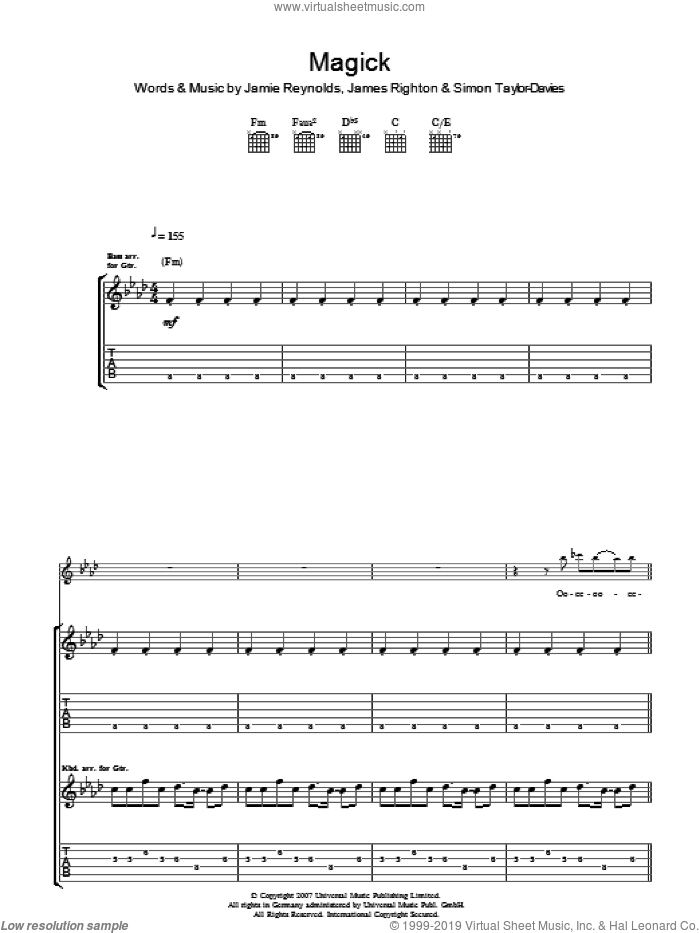 Magick sheet music for guitar (tablature) by James Righton. Score Image Preview.