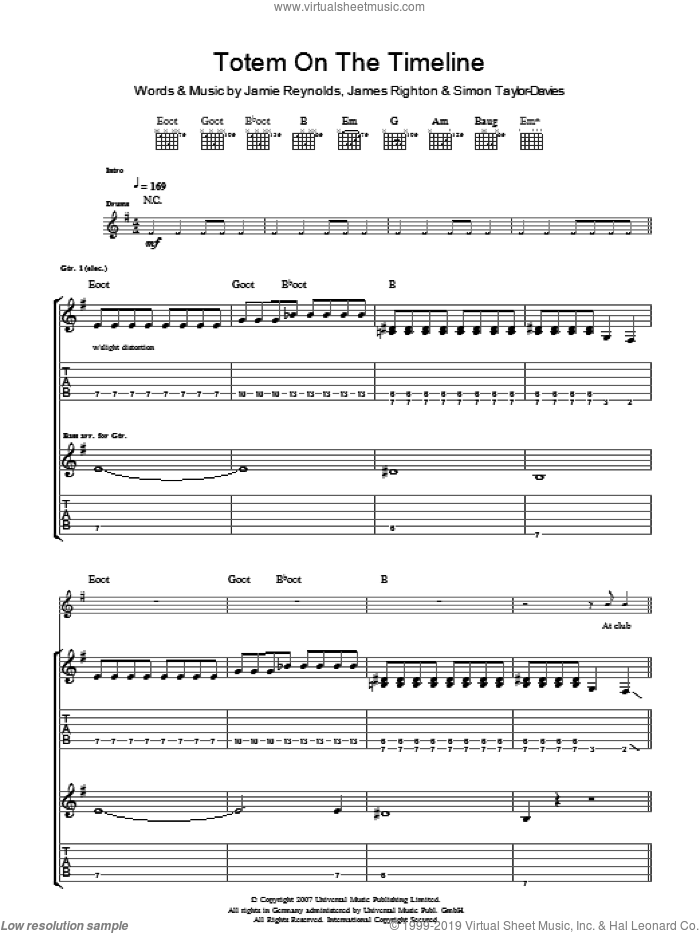 Totem On The Timeline sheet music for guitar (tablature) by Klaxons, intermediate guitar (tablature). Score Image Preview.