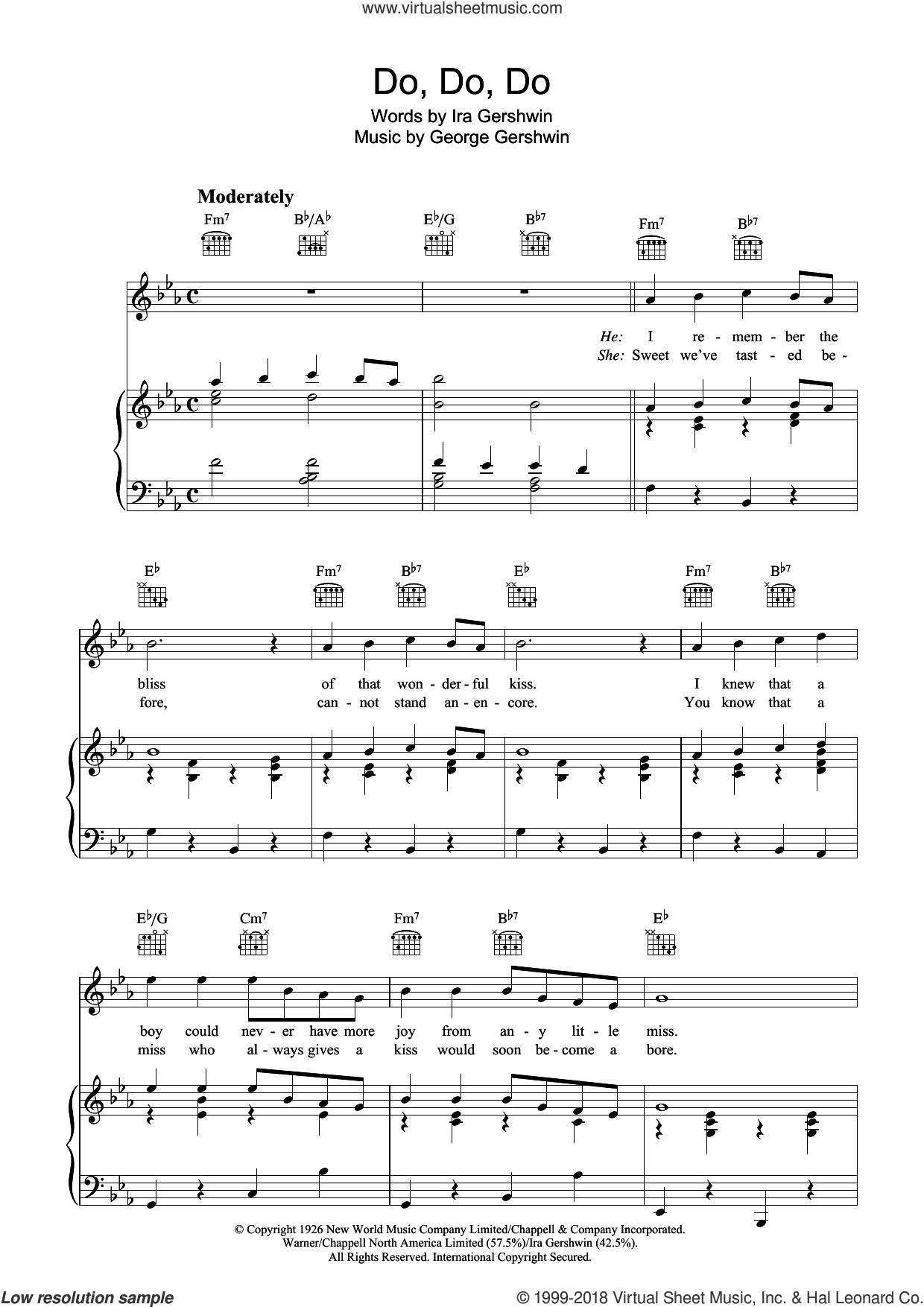 Do Do Do sheet music for voice, piano or guitar by Ira Gershwin and George Gershwin. Score Image Preview.