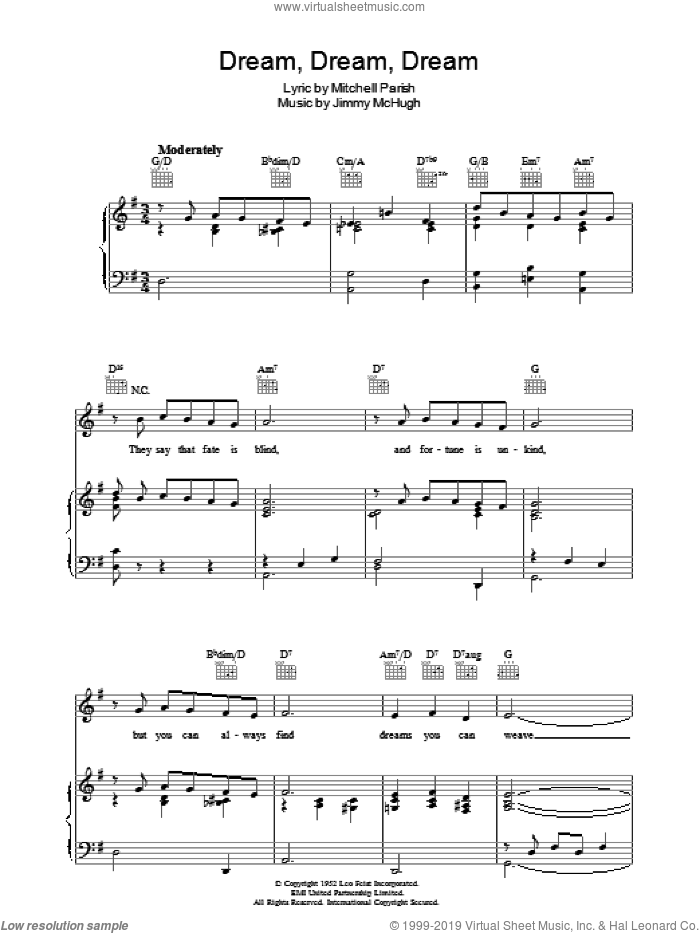 Dream Dream Dream sheet music for voice, piano or guitar by Jimmy McHugh and Mitchell Parish, intermediate skill level