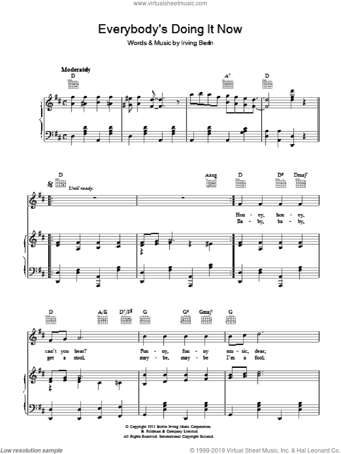 Everybody's Doing It (Now) sheet music for voice, piano or guitar by Irving Berlin. Score Image Preview.