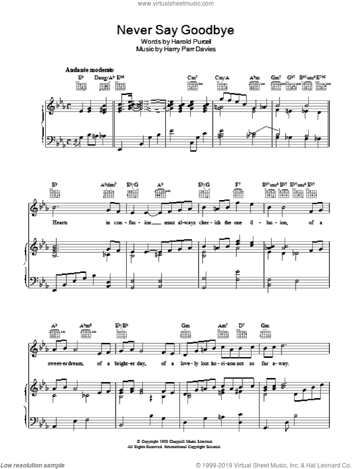 Never Say Goodbye sheet music for voice, piano or guitar by Harold Purcell. Score Image Preview.