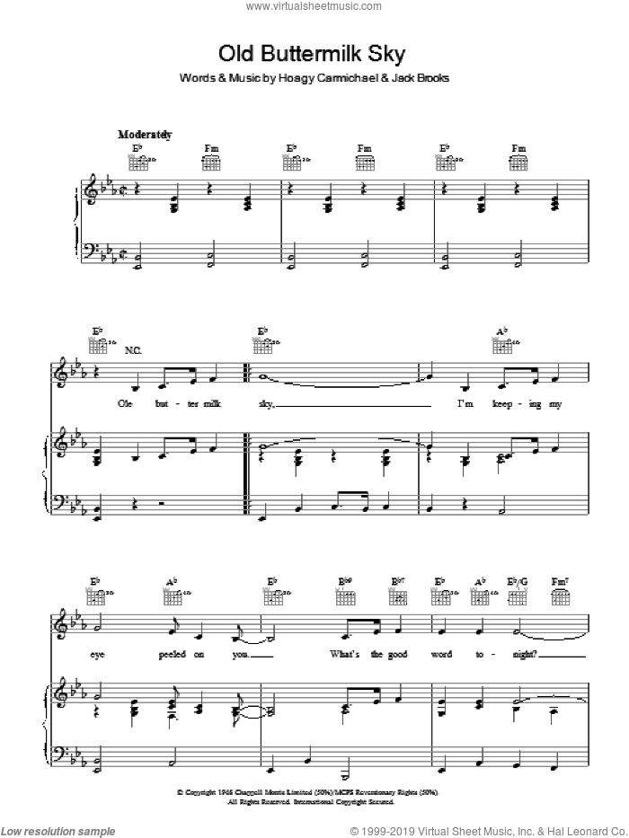 Old Buttermilk Sky sheet music for voice, piano or guitar by Jack Brooks and Hoagy Carmichael. Score Image Preview.