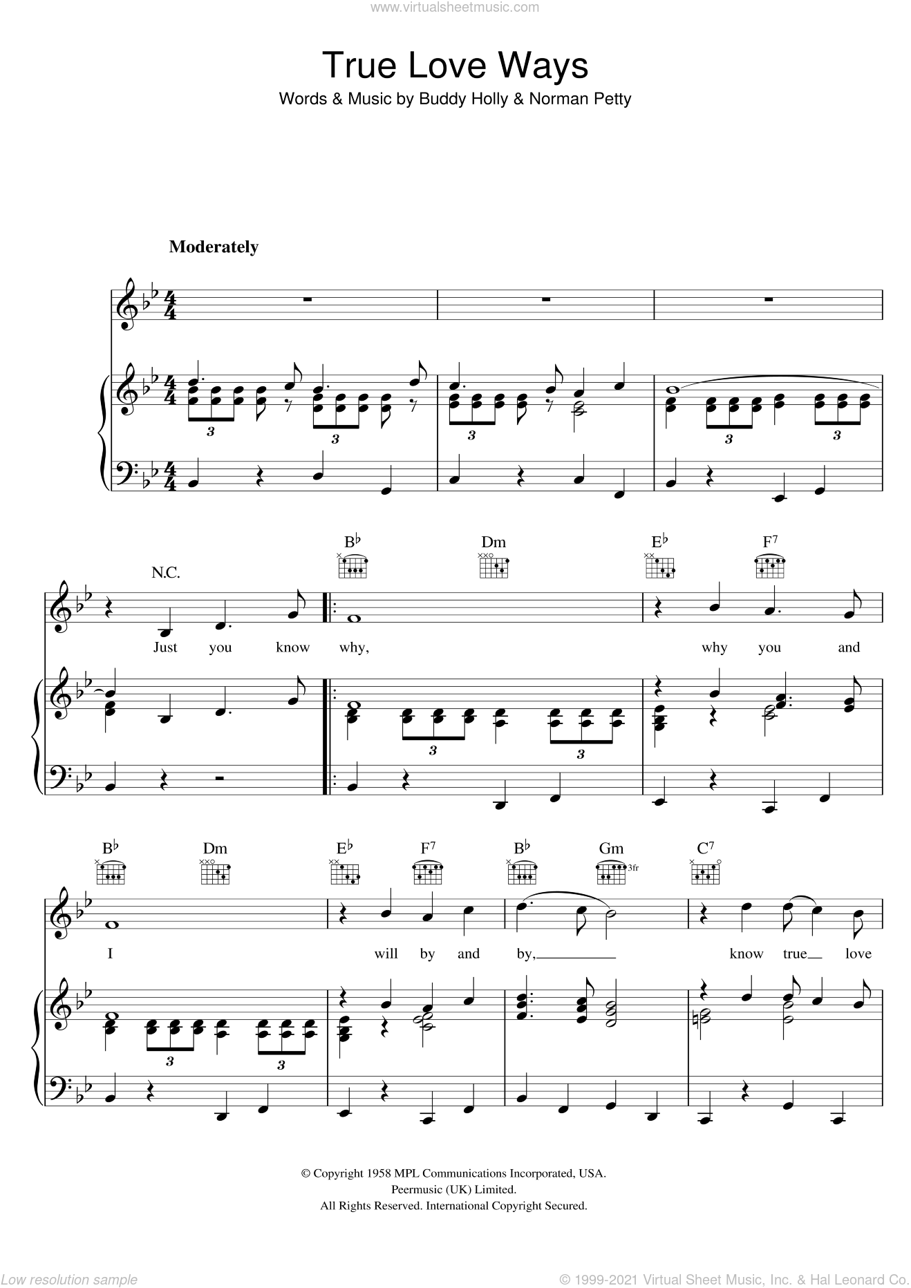 True Love Ways sheet music for voice, piano or guitar by Norman Petty and Buddy Holly. Score Image Preview.