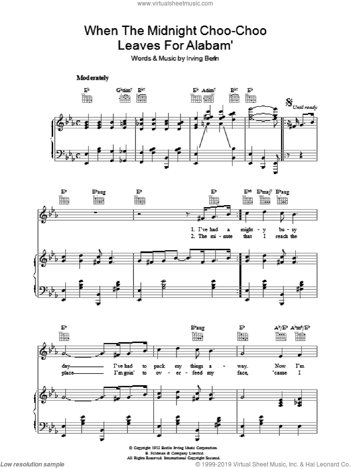 When The Midnight Choo Choo Leaves For Alabam' sheet music for voice, piano or guitar by Irving Berlin, intermediate