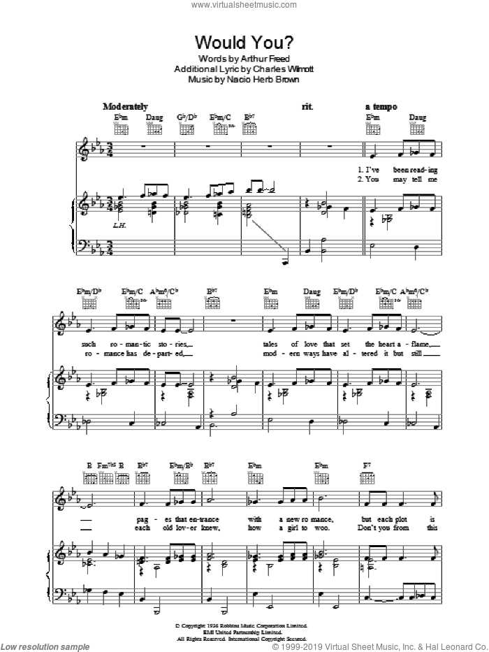 Would You? sheet music for voice, piano or guitar by Arthur Freed