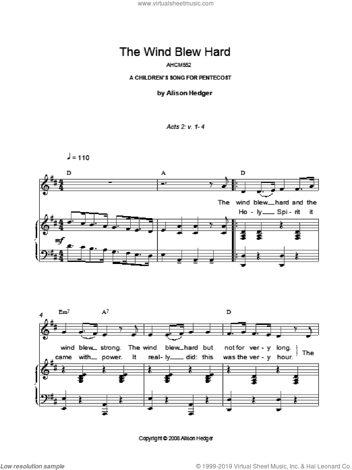 The Wind Blew Hard sheet music for voice, piano or guitar by Alison Hedger. Score Image Preview.