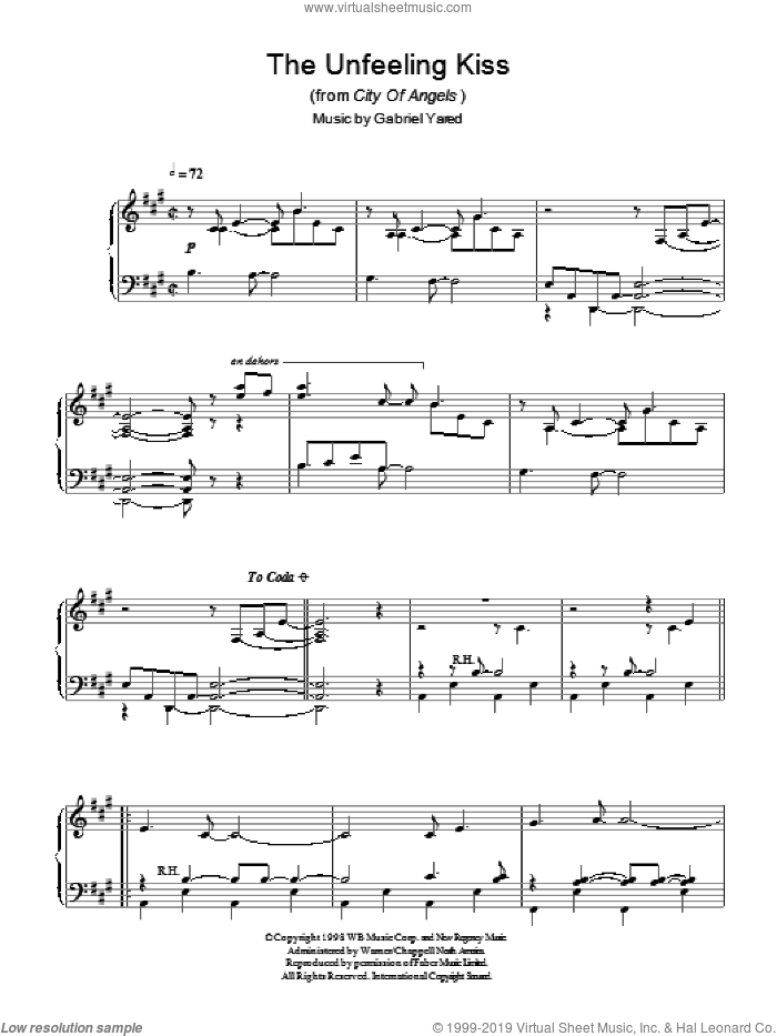 The Unfeeling Kiss (from City of Angels) sheet music for piano solo by Gabriel Yared. Score Image Preview.