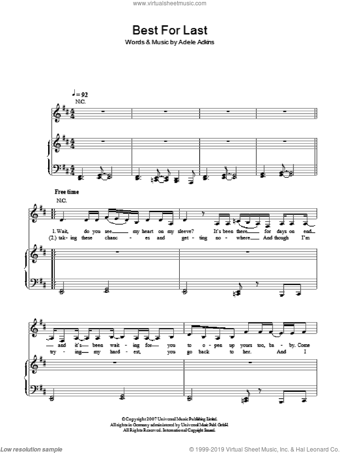 Best For Last sheet music for voice, piano or guitar by Adele Adkins