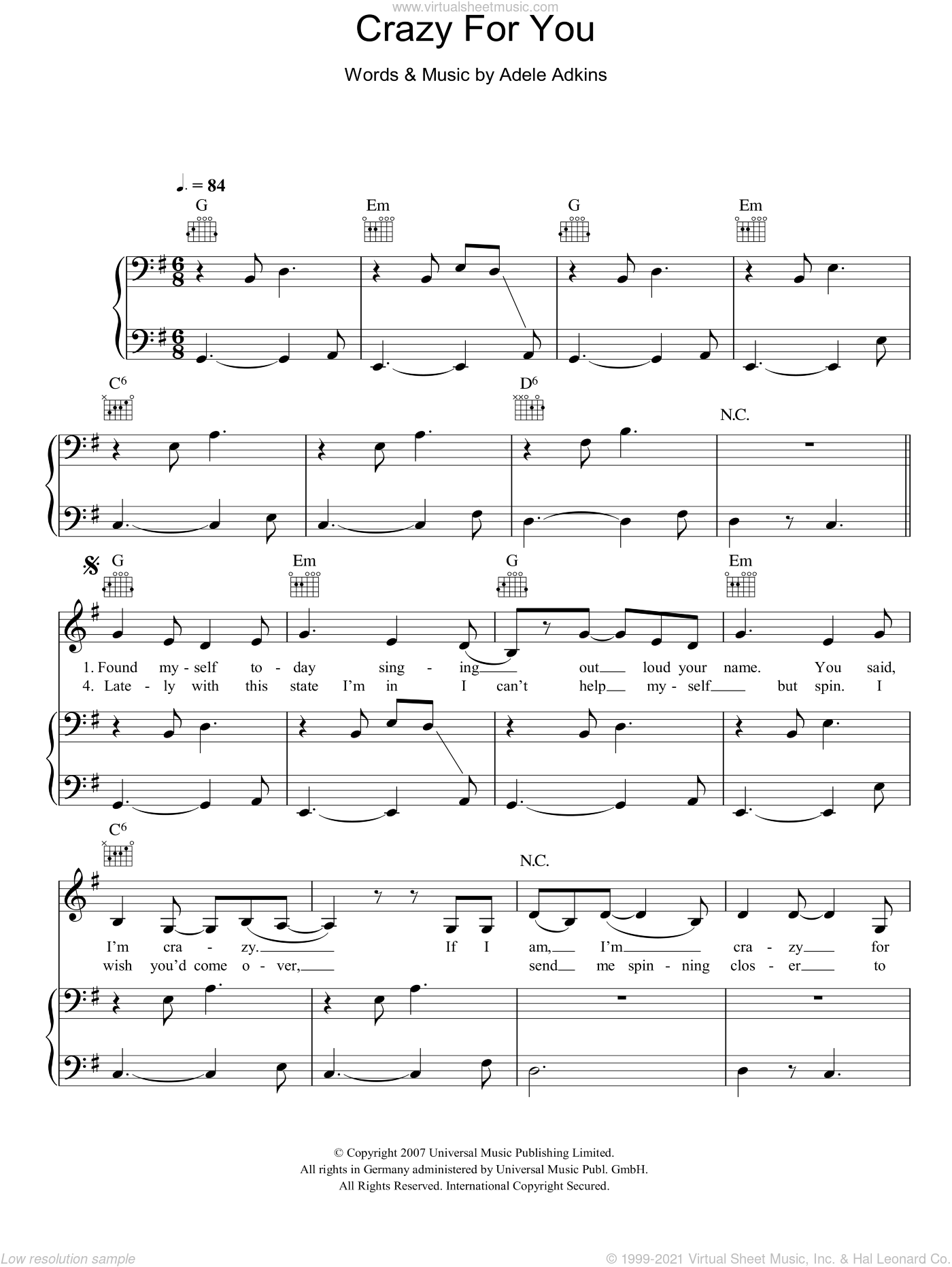 Crazy For You sheet music for voice, piano or guitar by Adele Adkins and Adele