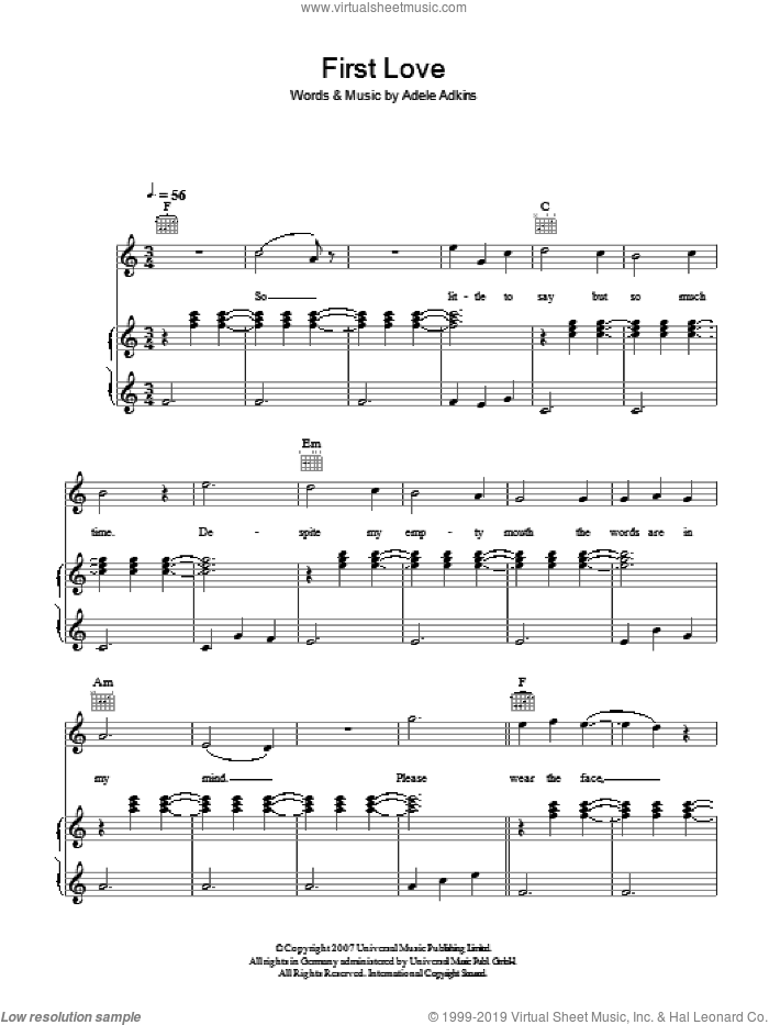 First Love sheet music for voice, piano or guitar by Adele and Adele Adkins, intermediate skill level
