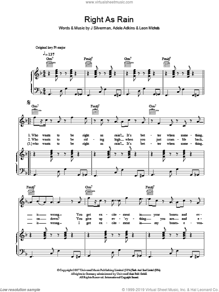 Right As Rain sheet music for voice, piano or guitar by Adele, intermediate voice, piano or guitar. Score Image Preview.