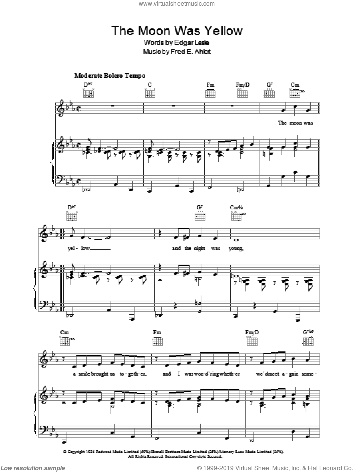 The Moon Was Yellow sheet music for voice, piano or guitar by Edgar Leslie and Fred Ahlert, intermediate skill level