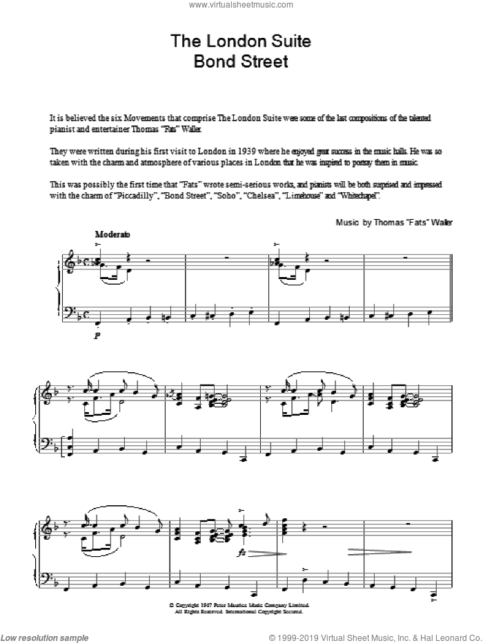 Bond Street (from The London Suite) sheet music for piano solo by Thomas Waller, intermediate skill level