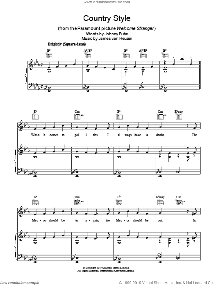 Country Style sheet music for voice, piano or guitar by Jimmy Van Heusen and John Burke, intermediate. Score Image Preview.