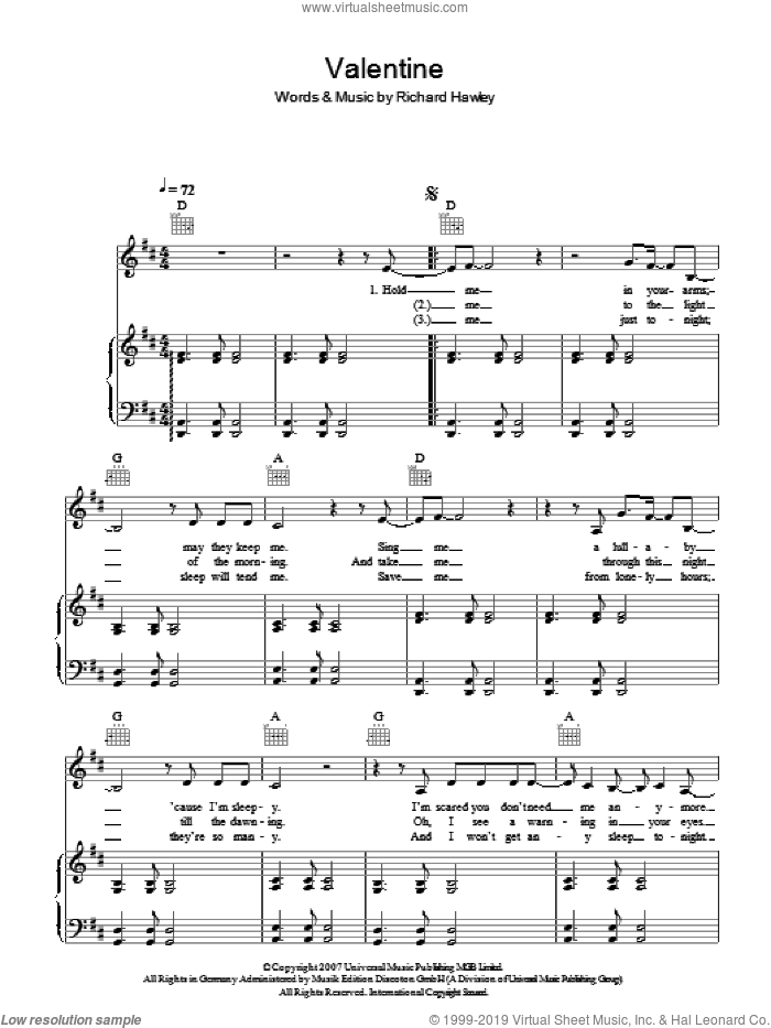Valentine sheet music for voice, piano or guitar by Richard Hawley, intermediate voice, piano or guitar. Score Image Preview.