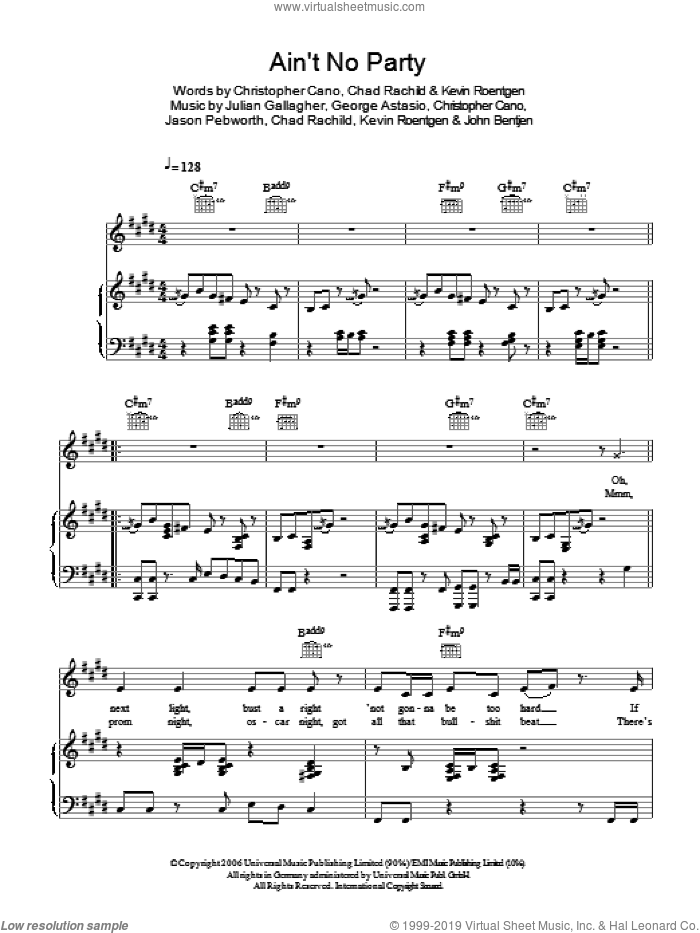 Ain't No Party sheet music for voice, piano or guitar by Chad Rachild