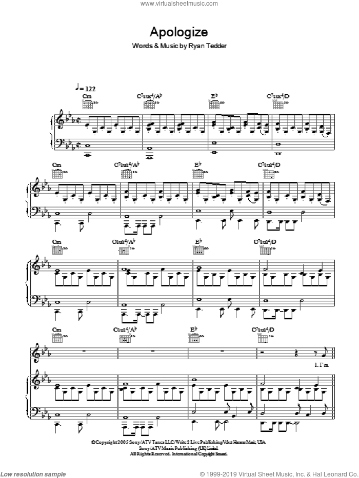 Apologize sheet music for voice, piano or guitar by Ryan Tedder and OneRepublic. Score Image Preview.