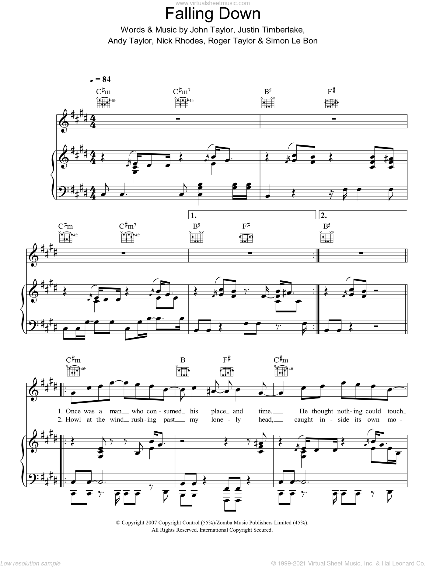 Falling Down sheet music for voice, piano or guitar by Andrew Taylor