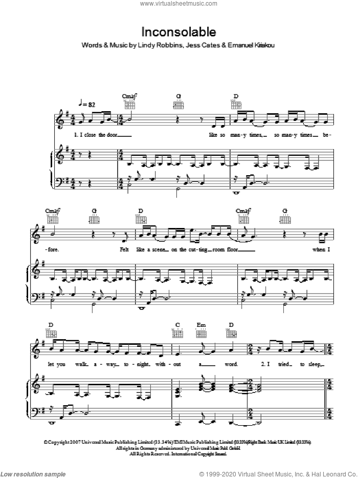 Inconsolable sheet music for voice, piano or guitar by Backstreet Boys, Emanuel Kiriakou, Jess Cates and Lindy Robbins. Score Image Preview.