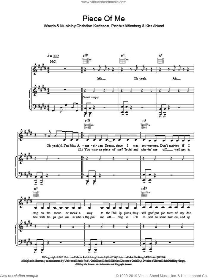 Piece Of Me sheet music for voice, piano or guitar by Britney Spears, Christian Karlsson, Klas Ahlund and Pontus Winnberg, intermediate skill level
