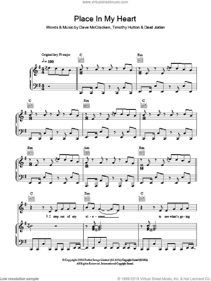 Place In My Heart sheet music for voice, piano or guitar by David Jordan, Dave McCracken and Timothy Hutton, intermediate skill level