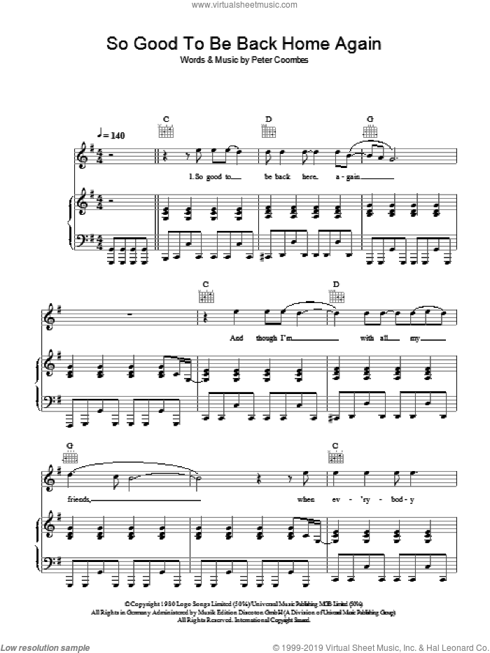So Good To Be Back Home Again sheet music for voice, piano or guitar by The Tourists, intermediate voice, piano or guitar. Score Image Preview.