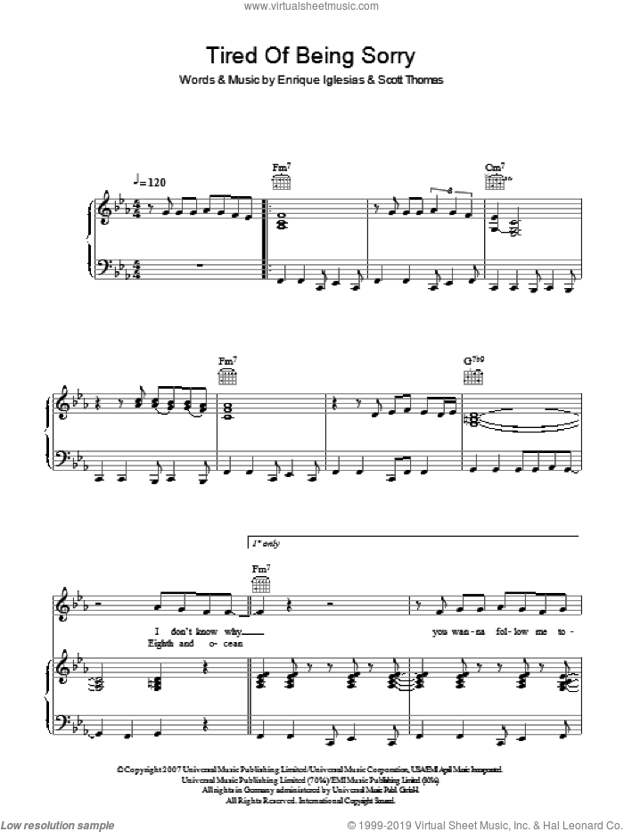 Tired Of Being Sorry sheet music for voice, piano or guitar by Enrique Inglesias, Enrique Iglesias and Scott Thomas, intermediate