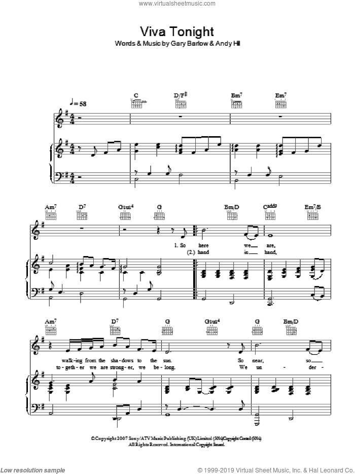 Viva Tonight sheet music for voice, piano or guitar by Katherine Jenkins and Gary Barlow, classical score, intermediate. Score Image Preview.