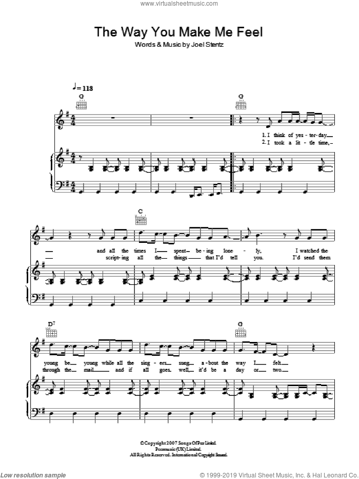 The Way You Make Me Feel sheet music for voice, piano or guitar by Joel Stentz. Score Image Preview.