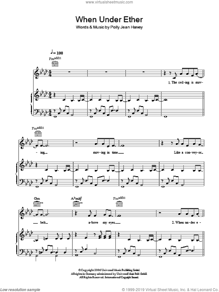 When Under Ether sheet music for voice, piano or guitar by Polly Jean Harvey. Score Image Preview.