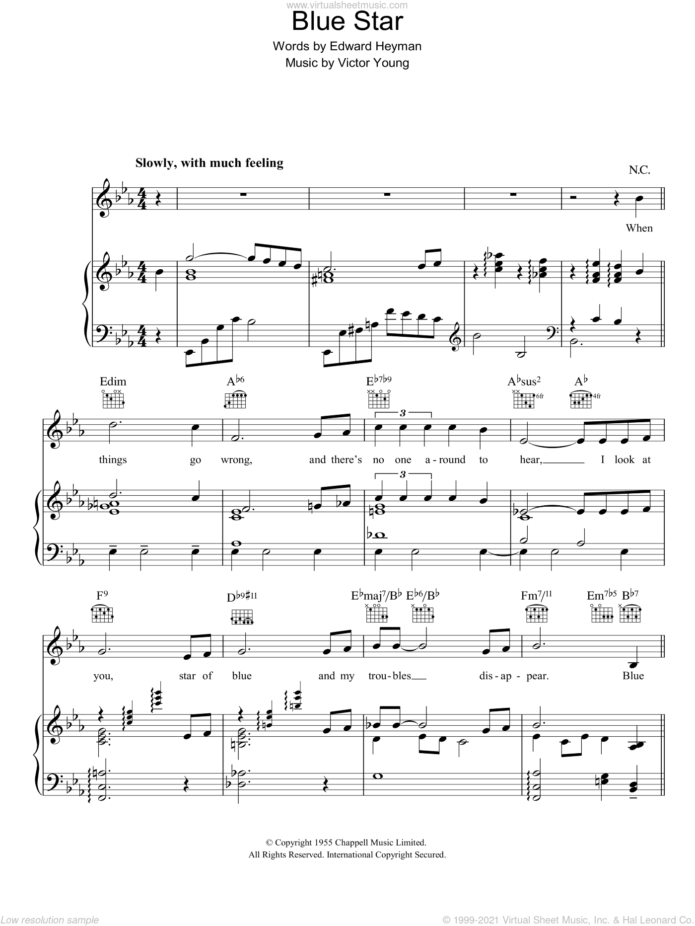 Blue Star (The Medic Theme) sheet music for voice, piano or guitar by Victor Young