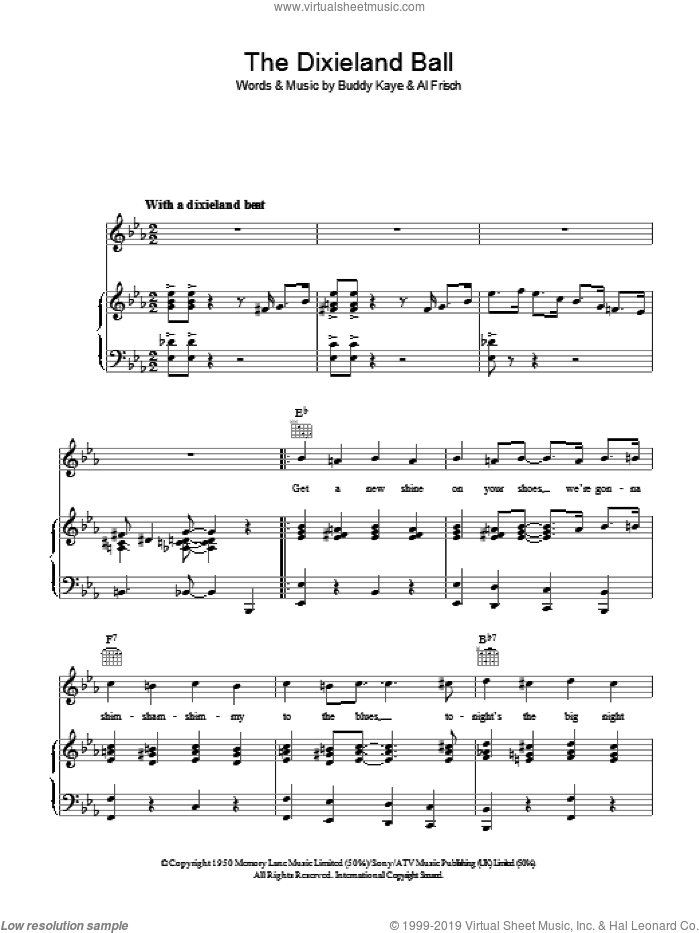 The Dixieland Ball sheet music for voice, piano or guitar by Al Frisch and Buddy Kaye. Score Image Preview.