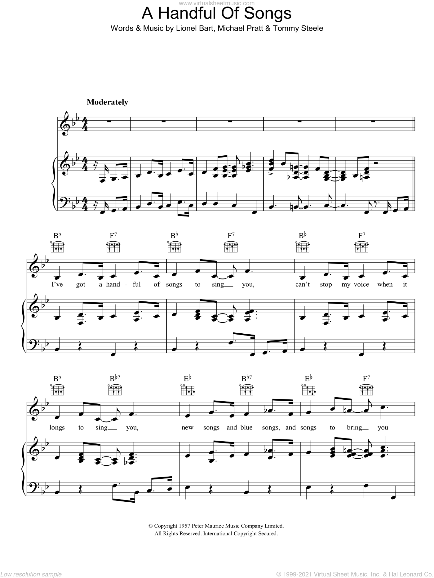 A Handful Of Songs sheet music for voice, piano or guitar by Michael Pratt